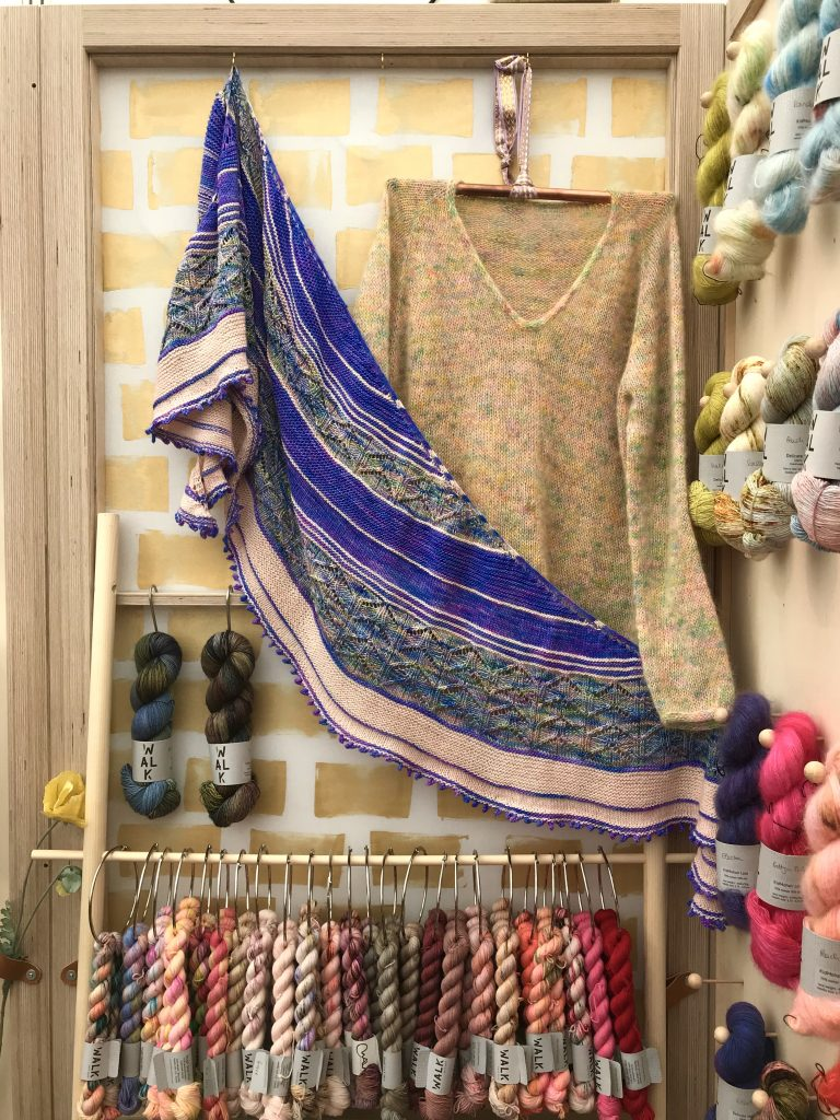 juniper wings shawl on walk collection stand