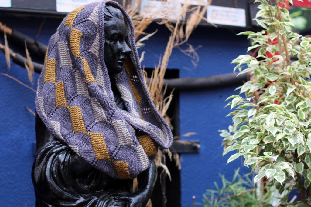 rutland cowl draped over statue
