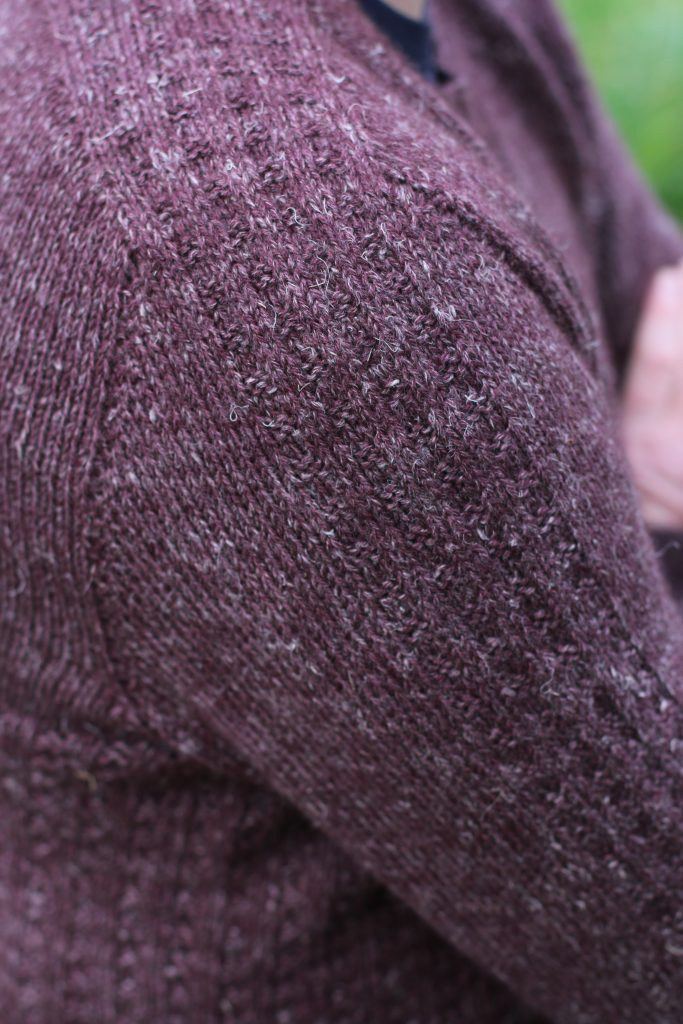 corcra pattern in nua worsted shoulder detail