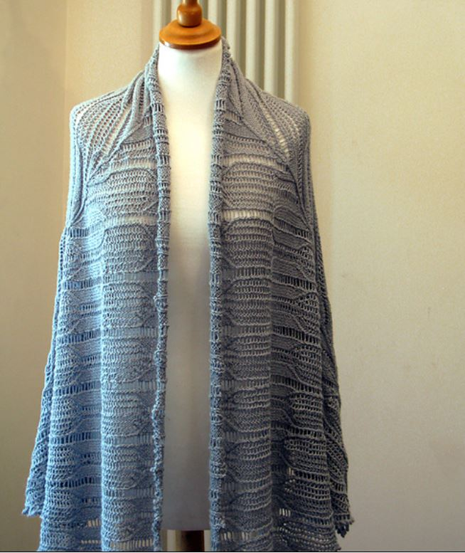 Diamond Corner shawl by Jeanette Sloan in light blue yarn