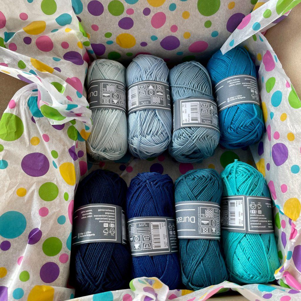 Blue shades of Coral cottan yarn balls