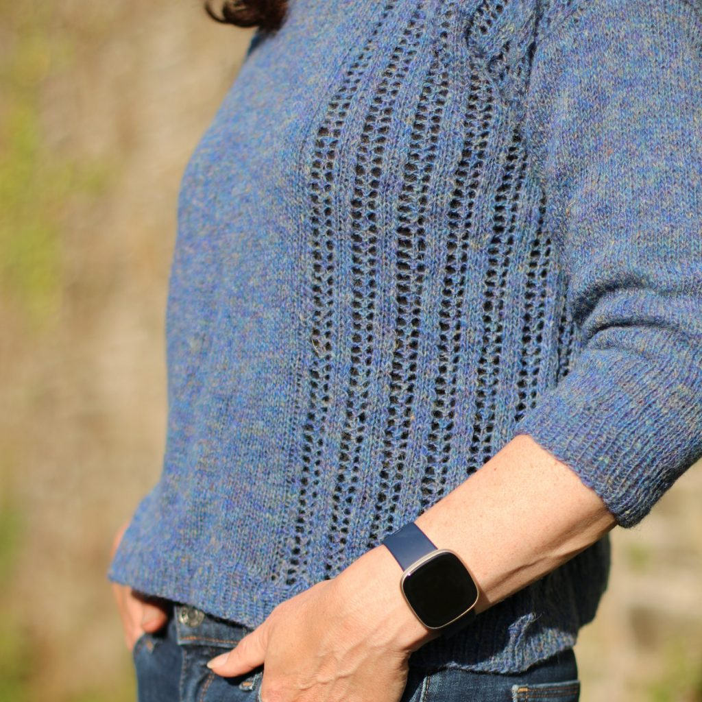 soft trails blasta light sweater showing front eyelet lace