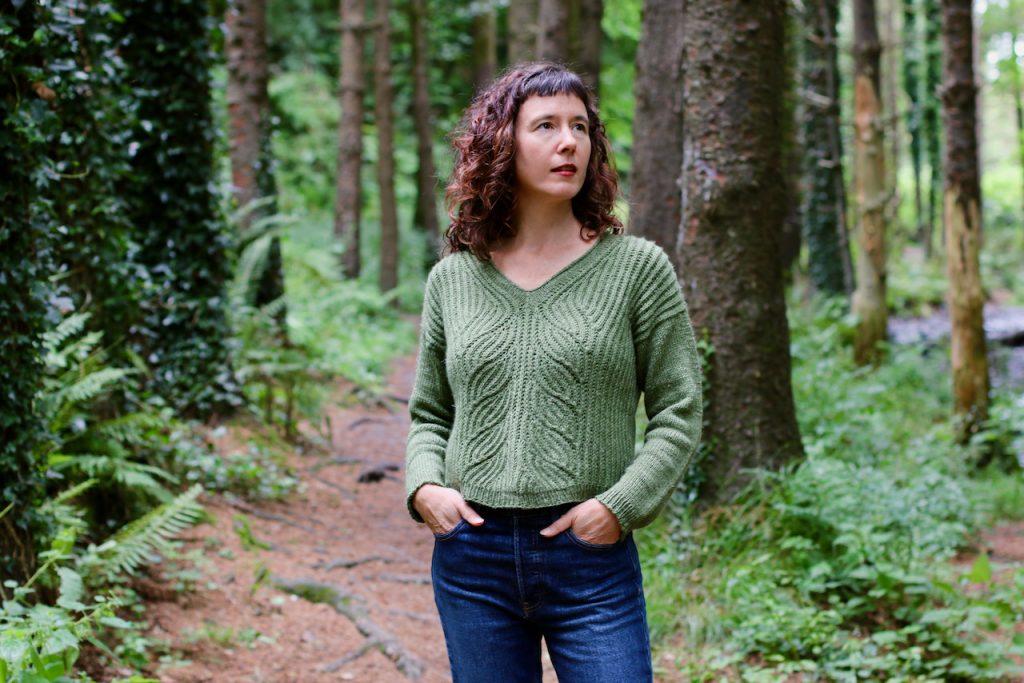 Green Handknit brioche sweater in nua yarn driftglass